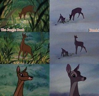 Is dit Bambi's moeder... of de prooi van Shere Kahn's in the Jungle Book?