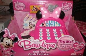 She will enjoy shopping with Minnie Mouse's Bowtique Musical Cash Register.    Press buttons to shop & sing with Minnie.    Real scanner sound    Press numbers to count with Minnie    Plays You Are My Sunshine    Includes:    Register    Key    Money    Credit Card    Coins    10 Pieces    For ages 2 & up    New in box
