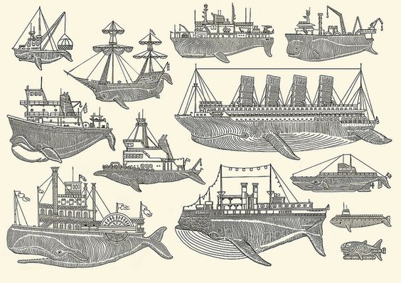 Whale Boats (screen print) by Kyler Martz