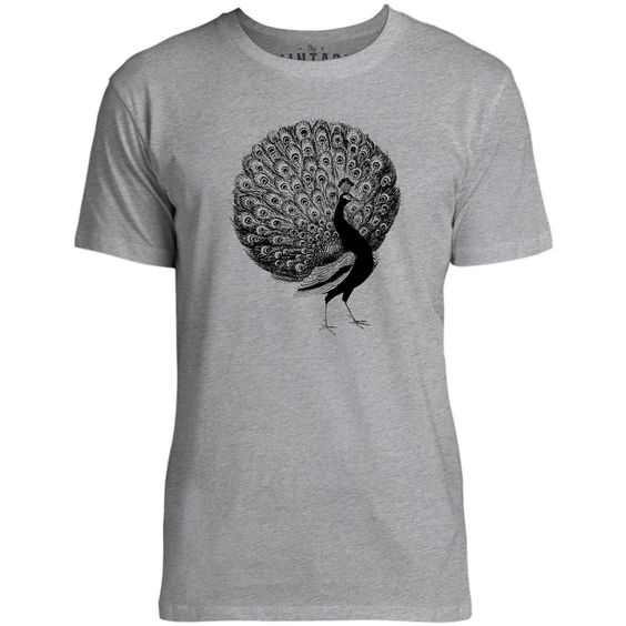 Mintage Fanned Peacock Mens Fine Jersey T-Shirt (Grey Marle)