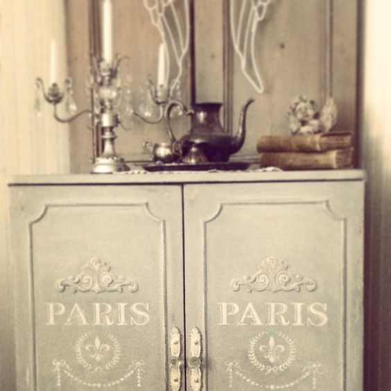 French Cabinet In ASCP Paris Grey~French Stencil From