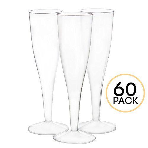 60 Premium Plastic Champagne Flutes, Glass Champagne Flutes Bulk