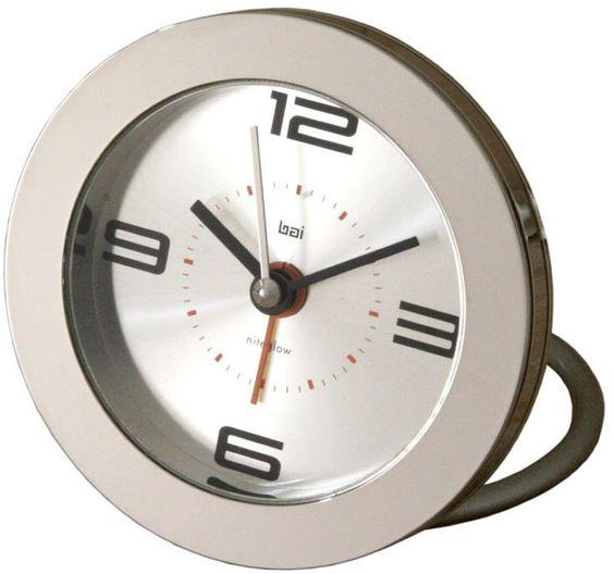 0-009113>Round Diecast Solid Metal Travel Alarm Clock Silver