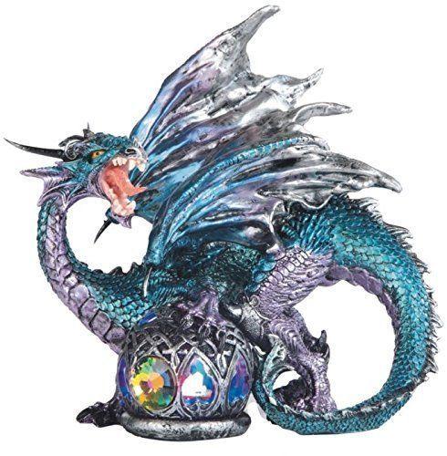 "8.25"" LED Orb Roaring Dragon Figurine Fantasy Statue Figurine Figure Decor"