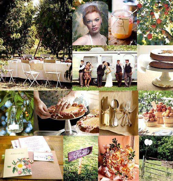 Peach Orchard wedding. Baskets of peaches and votives as centerpieces instead of flowers.