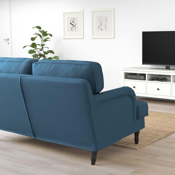 Stocksund 2er Sofa Ljungen Blau Schwarz Holz 2er Sofa Sofa Und Ruckenpolster