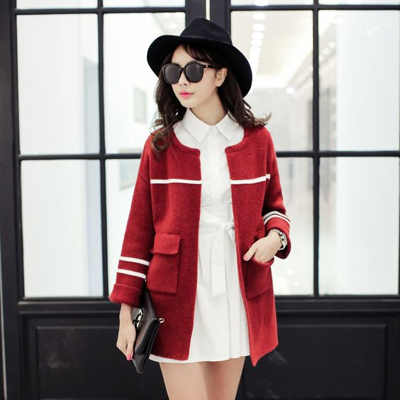 2015 new spring women's round neck long-sleeved knit cardigan A087F USD$31.33
