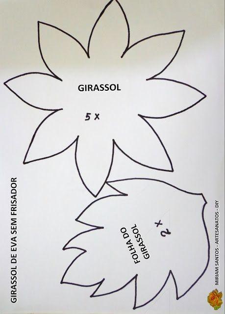 PATRONES O MOLDES DE LA FLORES DE GIRASOLE SPARA ELABORAR EN FOAMI    Flores de Mira: Girassol de Eva sem Frisador