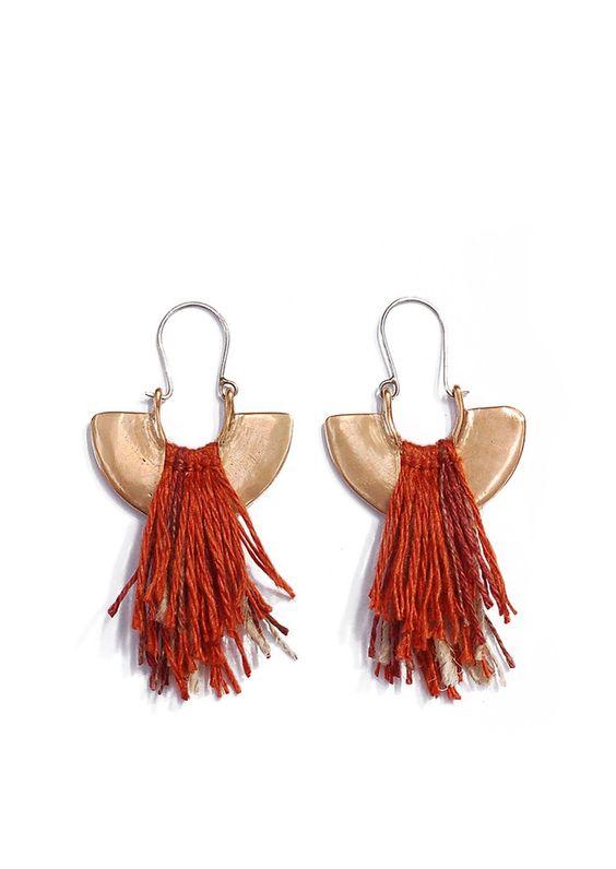 Tiro Tiro Tela Earrings -Cast bronze earrings with linen and nettle fiber accent. Oxidized sterling silver ear wires.