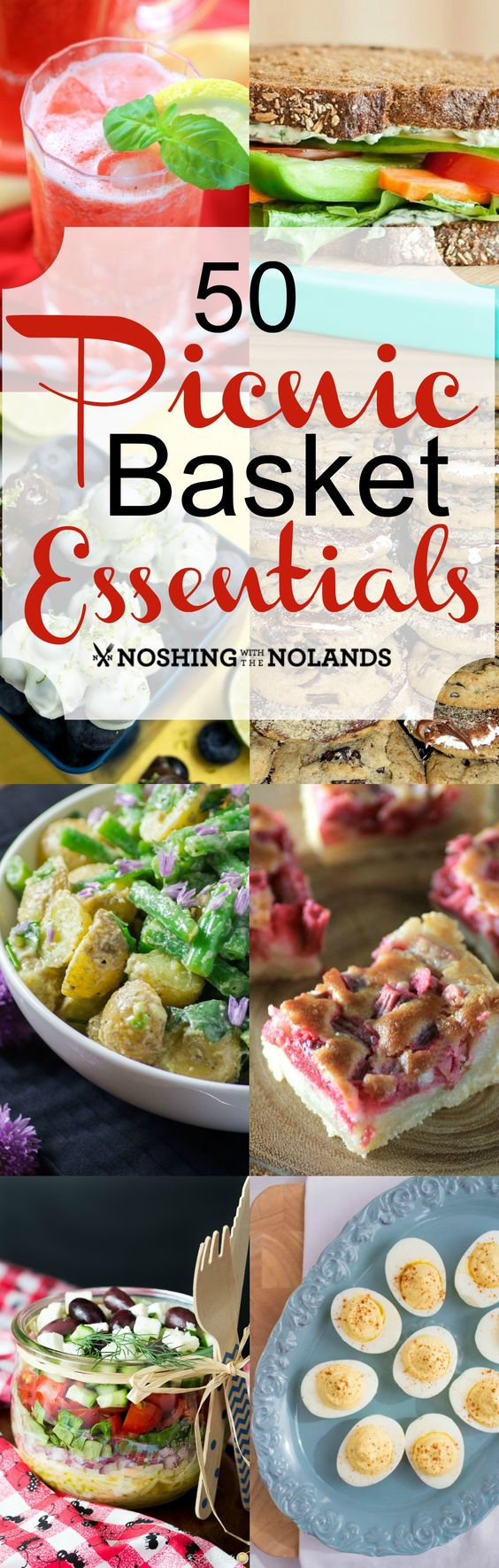 50 Picnic Basket Essentials from Noshing With the Nolands -  You'll find everything you need for your next picnic this summer including drinks, salads, sandwiches and much more!