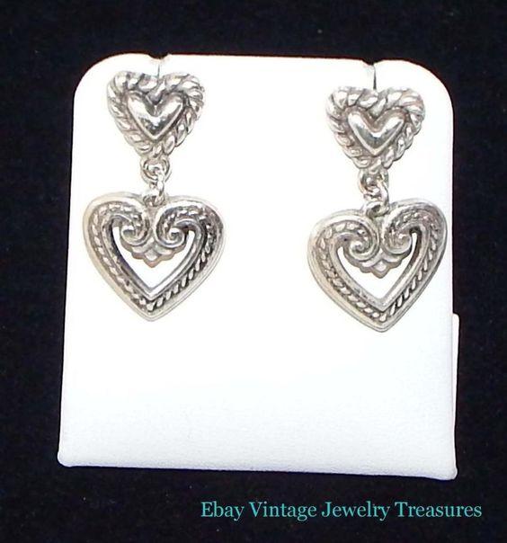 BRIGHTON Silver Heart Design Pierced Earrings