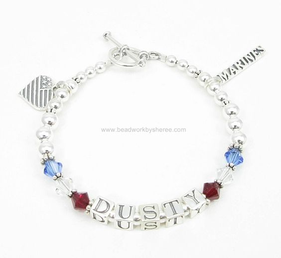Deployment Bracelets® are Sterling Silver with Swarovski Crystals and are $59.00 per strand. Sterling Silver charms are also available.