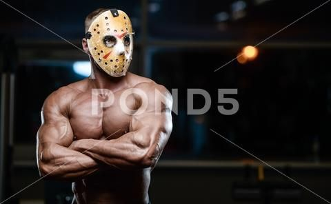 Horror Brutal Jason Mask Man Strong Bodybuilder Athletic Fitness Man In Scary Stock Photos Ad Mask Man Strong Horror Jason Mask Bodybuilding Masked Man