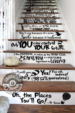 """The more that you read, the more things you will know. The more that you learn, the more places you'll go. - Dr. Seuss Inspired Quote Size for each quote: ~ 5.5""""H x 20-24""""W (Perfect for stairs) ~ 8.5""""H x 30-36""""W ~11.5""""H x 50-56""""W Size will vary depending on the ratio of the quote. Photo in listing is only used as a reference. Please measure your own surface before purchasing. For all other sizes, please contact me for a custom listing. Have another quote in mind or want to make a change to the o"""