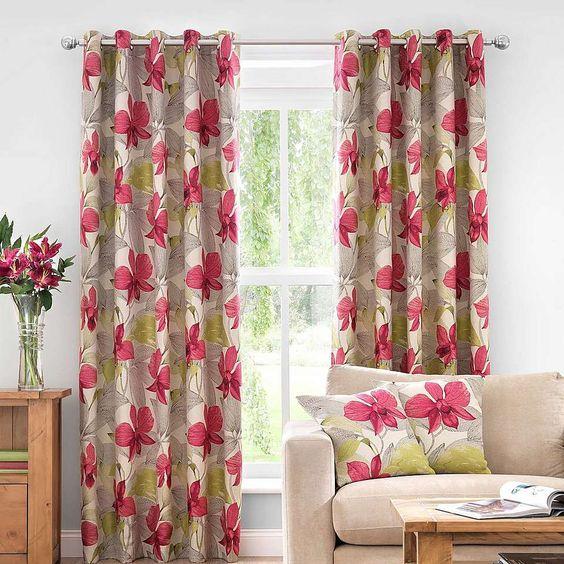 Paradise Pink Lined Eyelet Curtains | Dunelm