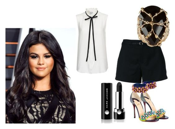 """Selena Gomez"" by de-garbelini ❤ liked on Polyvore featuring Loveless, Frame Denim, Christian Louboutin, Rosantica and Marc Jacobs"