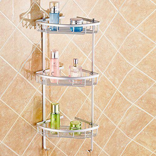 Hiquty Aluminium Wall Mounted Bathroom Corner Shower Caddies Storage Shelf Rack Holder 2 Layer Aluminium Wall Mounted Bathroom Corner Shower Ca Corner Shower