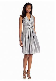 Kasper Shantung Fit-and-Flare Dress
