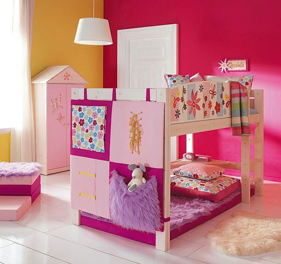 Cuarto de ni a cama doble color rosa camas para ni as for Muebles y camas infantiles