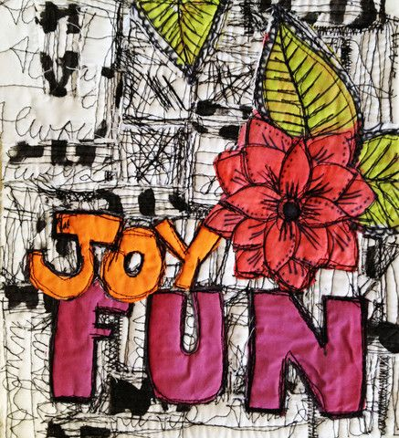 Alisa Burke — joy, fun free motion graffiti art quilt