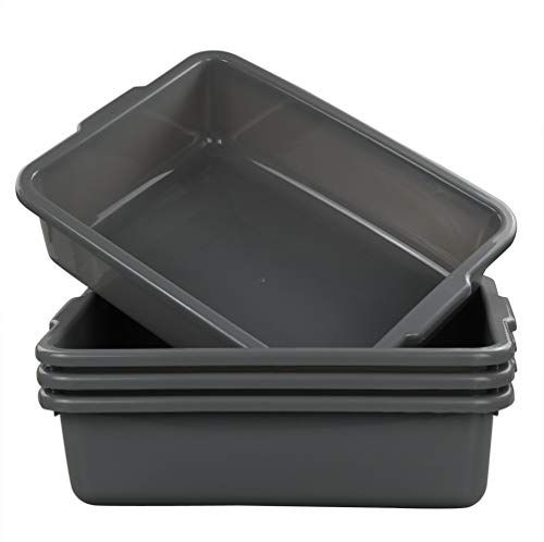 Eagrye 4 Pack Bus Tubs Commercial Tote Box Plastic Bus Box 13 L Capacity Grey Bus Tubs Stainless Steel Cutlery Steamer Recipes