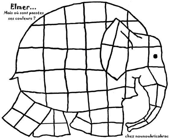 Elmer a perdu ses couleurs... à toi de le colorier