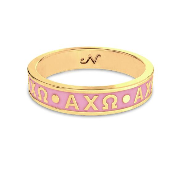 Alpha Chi Omega Yellow Gold Enameled Signature Letter Ring…