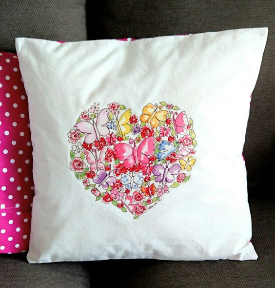 Butterfly Cushion Cover. Artist Cushion. Butterflies. Heart Cushion. Mothers Day. Calico Cushion. Linen Cushion. by SueRocheIllustration on Etsy https://www.etsy.com/listing/254831214/butterfly-cushion-cover-artist-cushion