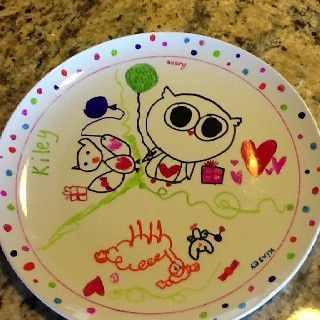 Dollar store plate- sharpie markers- favorite artist- bake 300 degrees 30 min.  Great end of year or Christmas gift for parents.   This would be great to do with the white mugs too for a sleepover party. The kids could use it the next day for breakfast and have something cool to take home too!