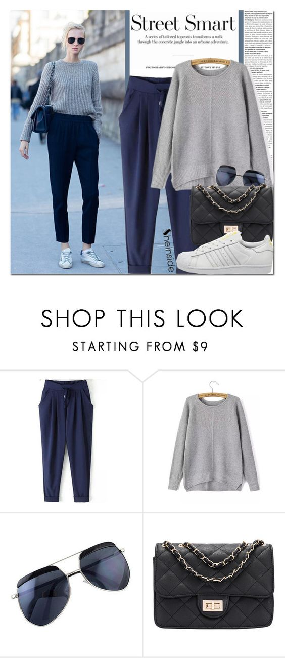 """Model Off Duty Street Style"" by never-alone ❤ liked on Polyvore featuring adidas, Sheinside and shein"