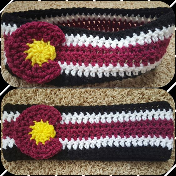 Maroon crochet Colorado Earwarmer/ Headband. Made for ages 11- adult.