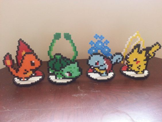 Small Perler Bead Sprite/ Ornaments - All 4 Pokemon with stands