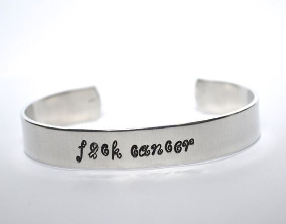 Cancer Survivor Custom Quote Aluminum Cuff by TeamNeville on Etsy