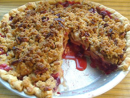 Cranberry Apple Pie - I love apple, and I love cranberry. I love the idea of the streusel topping on this one.