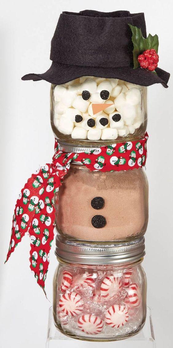Ball Jar Snowman from @joannstores | DIY Jar Gift | Peppermint Hot Chocolate Jar | Mason Jar Gifts: