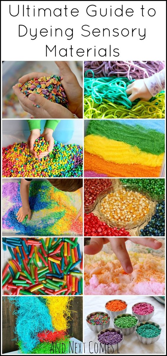 Rainbow sensory play guide: how to dye sensory bin fillers from oats to rice to salt from And Next Comes L