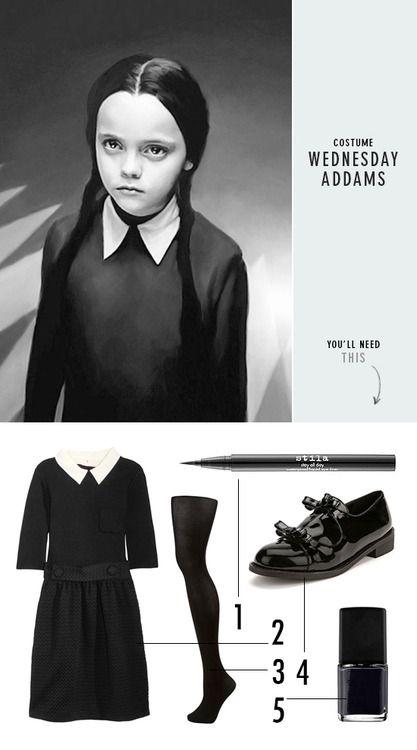 DIY Halloween Costume Inspiration: Wednesday Addams from Design Love Fest. A black dress or black shirt and skirt, black tights, DIY felt white collar, etc… Not that hard.