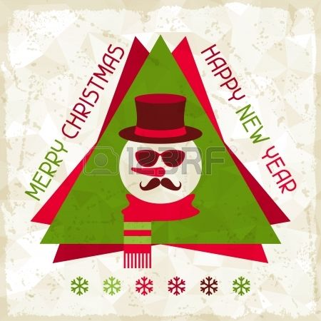 Fondo de la Feliz Navidad con el mu�eco de nieve en estilo inconformista. photo