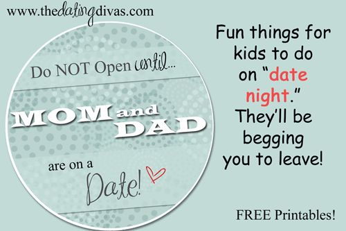 Kid date night envelope, makes the actual LEAVING part of a date, a breeze! www.thedatingdivas.com
