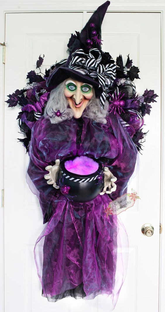 XL Light up with Sound Witch Wreath Witch by SplendidHomecrafts