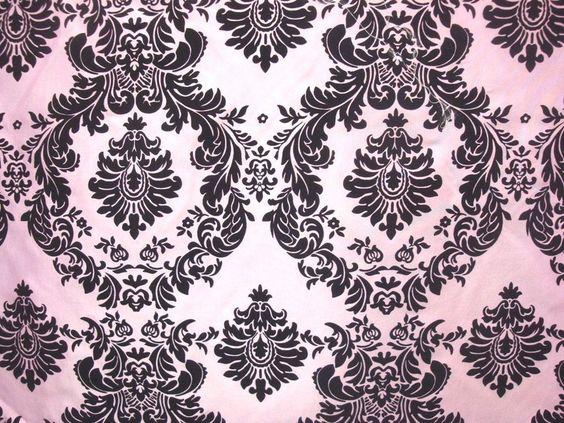 "5 Yards Pink Black Flocking Damask Taffeta 15 ft Velvet Fabric 58"" Flocked Decor #TableclothMarket"