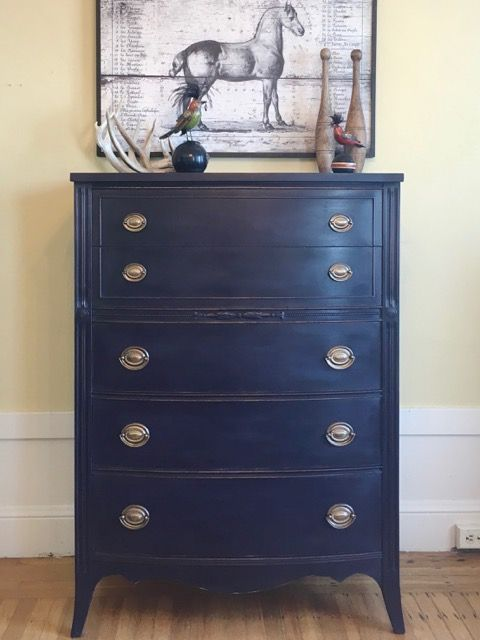 Dresser Painted In Annie Sloan Chalk Paint Burgundy Napoleonic Blue And Graphite B Shabby Chic Dresser Blue Painted Furniture Chalk Paint Furniture Dresser
