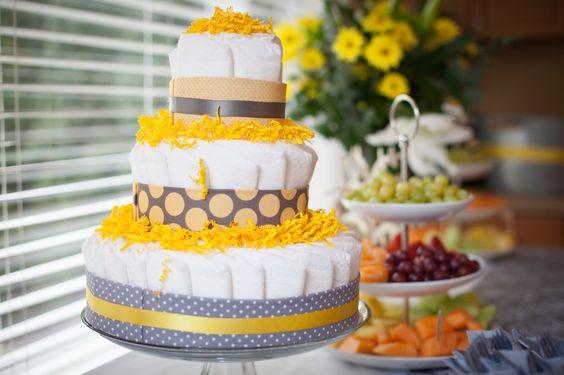 Gray and Yellow Diaper Cake