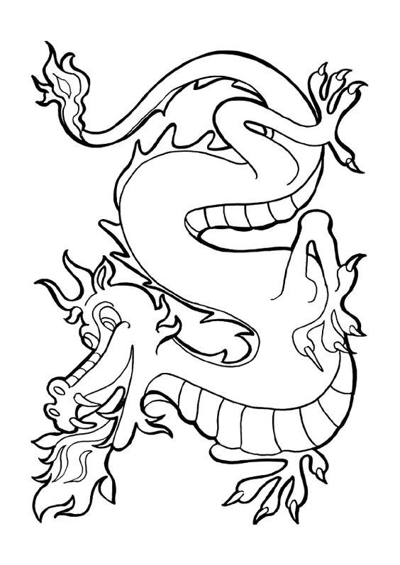 Coloriage d un dragon entrain de cracher du feu dragon - Dessin d un dragon ...