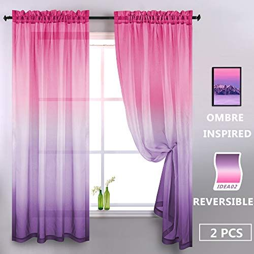 Koufall Pink And Purple Ombre Window Sheer Curtain Panel Faux Linen Semi Voile Drapes Short Sheer Cu In 2020 Girls Room Curtains Girls Bedroom Room Purple Room Decor