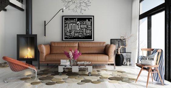 tapis de salon à segments ronds, canapé en cuir et cheminée ...