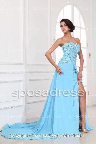 2013 Popular A-line Strapless Blue Chiffon Prom Dress