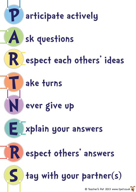 PARTNERS Poster - how to work with a partner