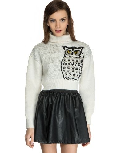 Ivory Owl Turtle Neck Sweater - Cute Cropped Sweater - $142