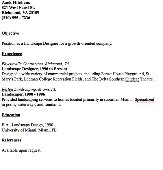 Example Of Landscape Designer Resume -    resumesdesign - landscaper resume